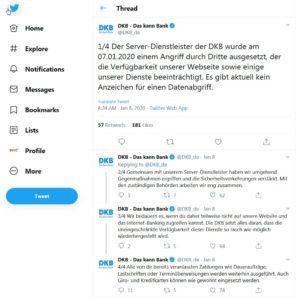 Twitter-Meldung der DKB